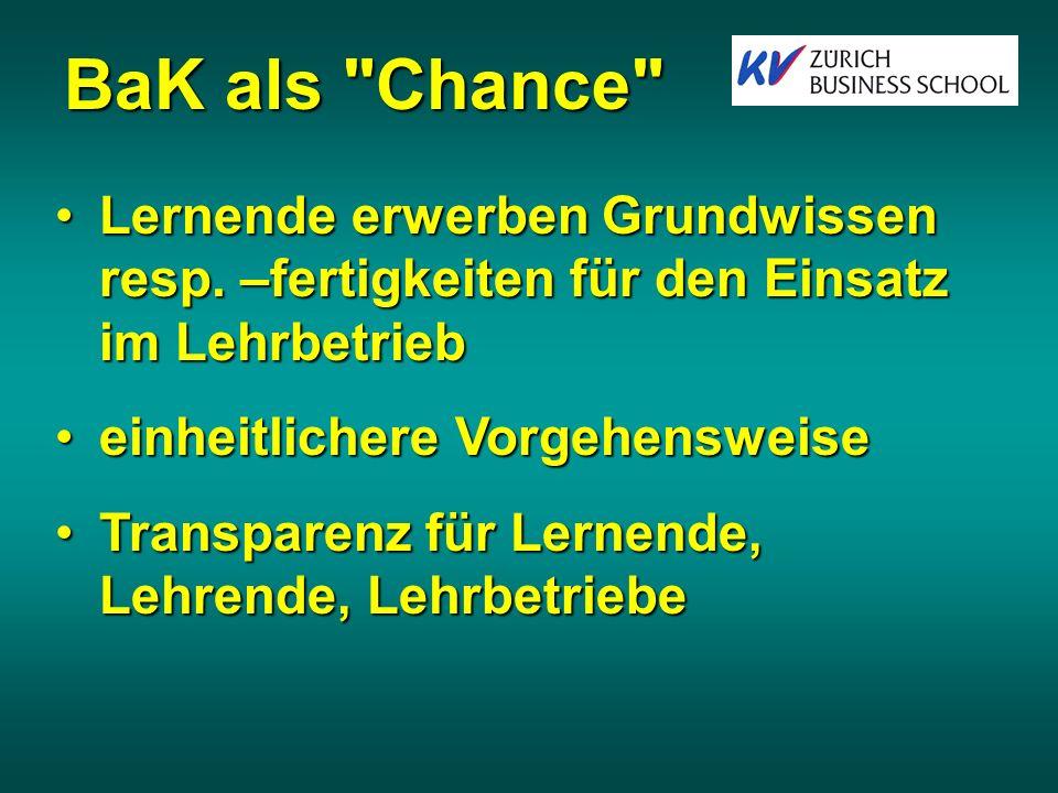 BaK als Chance Lernende erwerben Grundwissen resp.
