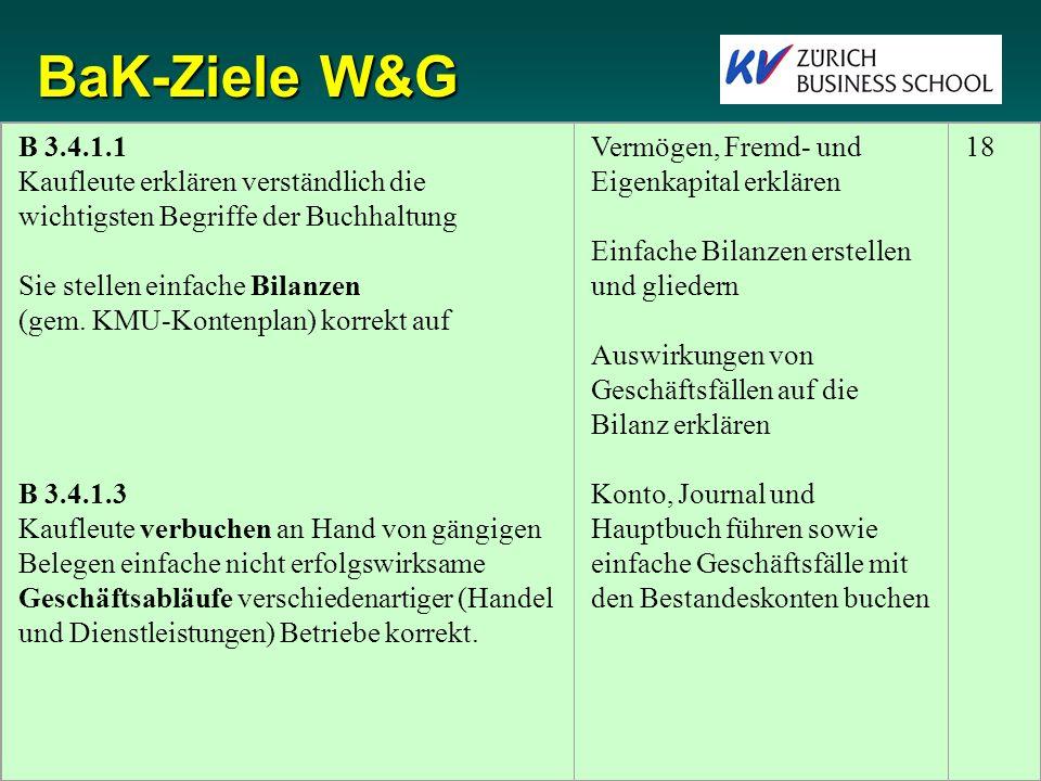 BaK-Ziele W&G B 3.4.1.1 Kaufleute erklären verständlich die wichtigsten Begriffe der Buchhaltung Sie stellen einfache Bilanzen (gem.