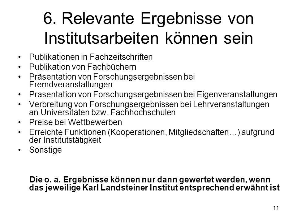 11 6. Relevante Ergebnisse von Institutsarbeiten können sein Publikationen in Fachzeitschriften Publikation von Fachbüchern Präsentation von Forschung