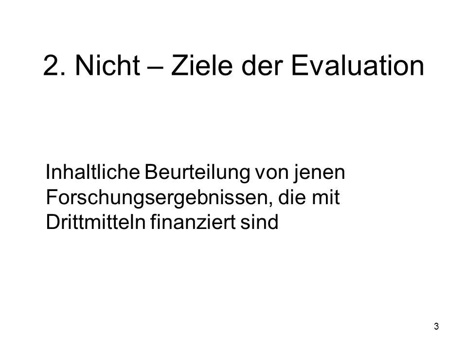 3 2. Nicht – Ziele der Evaluation Inhaltliche Beurteilung von jenen Forschungsergebnissen, die mit Drittmitteln finanziert sind