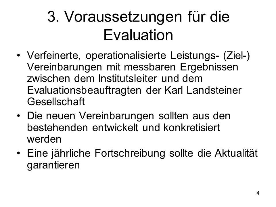 4 3. Voraussetzungen für die Evaluation Verfeinerte, operationalisierte Leistungs- (Ziel-) Vereinbarungen mit messbaren Ergebnissen zwischen dem Insti