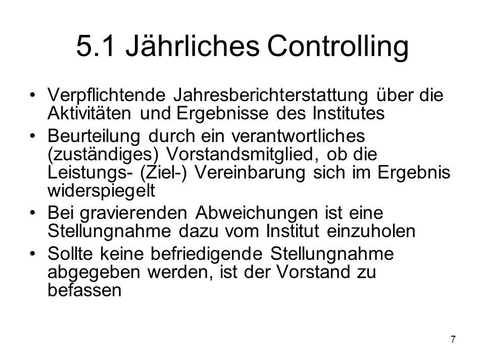 7 5.1 Jährliches Controlling Verpflichtende Jahresberichterstattung über die Aktivitäten und Ergebnisse des Institutes Beurteilung durch ein verantwor