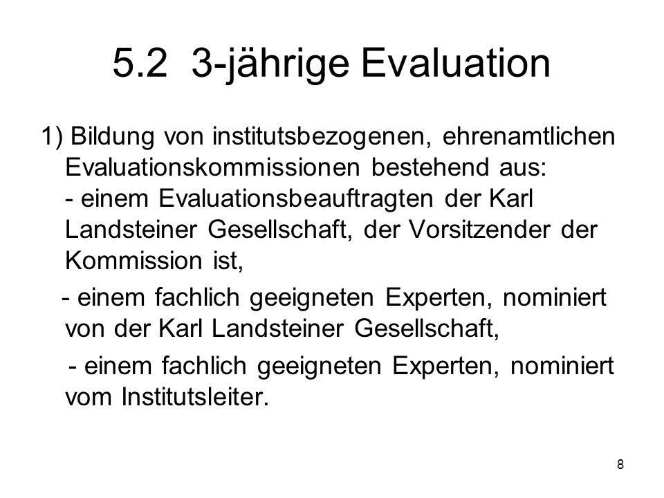 8 5.2 3-jährige Evaluation 1) Bildung von institutsbezogenen, ehrenamtlichen Evaluationskommissionen bestehend aus: - einem Evaluationsbeauftragten de