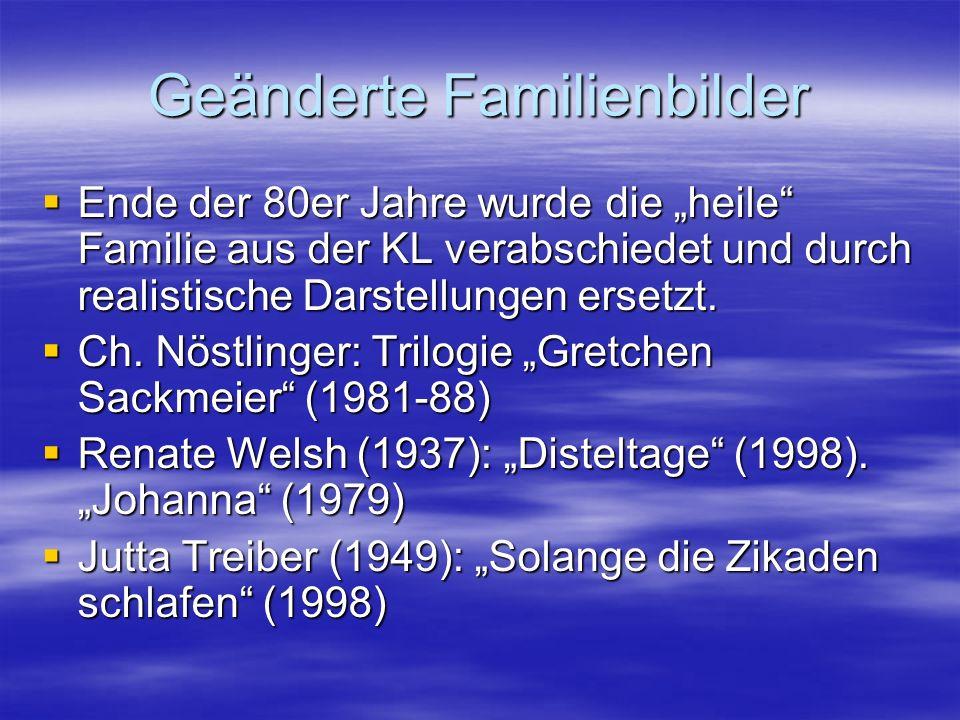 Geänderte Familienbilder Ende der 80er Jahre wurde die heile Familie aus der KL verabschiedet und durch realistische Darstellungen ersetzt. Ende der 8