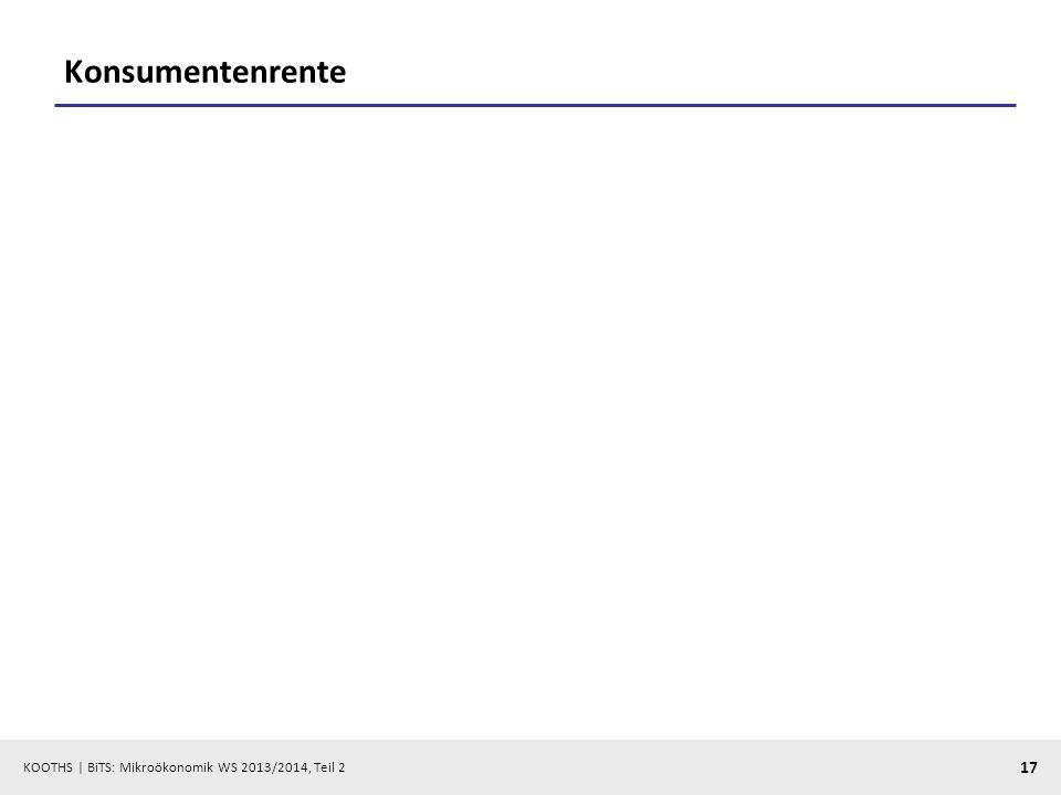 KOOTHS | BiTS: Mikroökonomik WS 2013/2014, Teil 2 17 Konsumentenrente