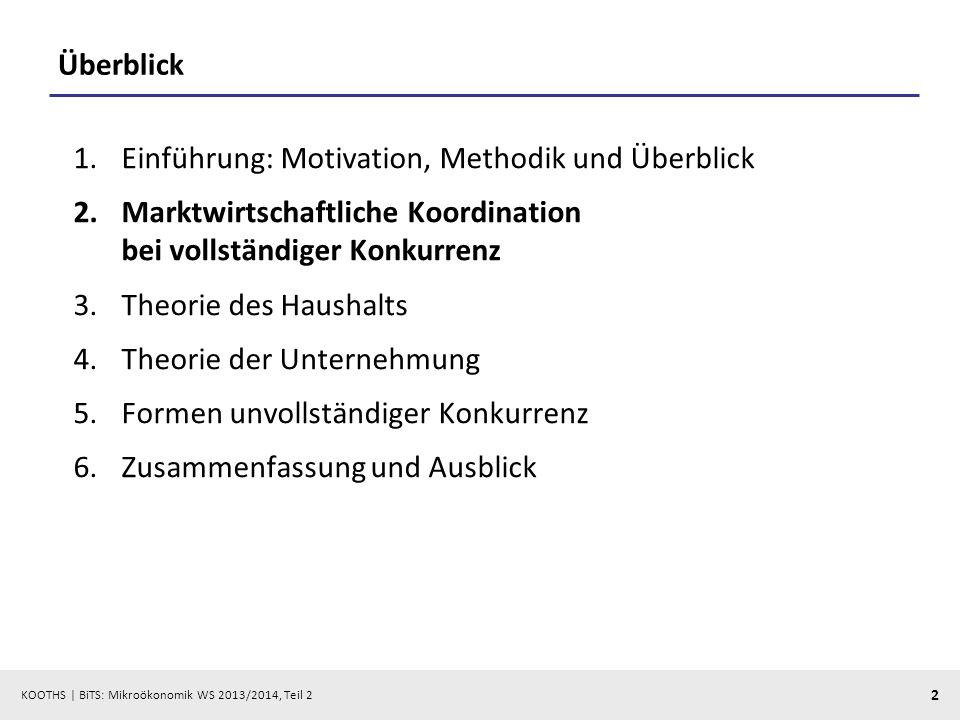 KOOTHS | BiTS: Mikroökonomik WS 2013/2014, Teil 2 2 Überblick 1.Einführung: Motivation, Methodik und Überblick 2.Marktwirtschaftliche Koordination bei