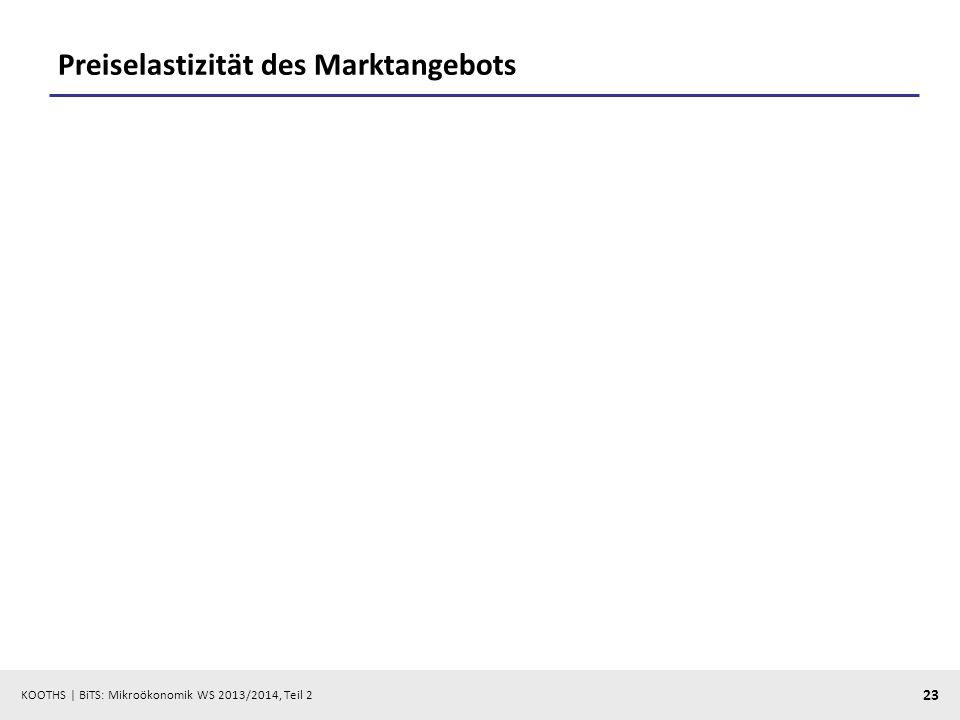 KOOTHS | BiTS: Mikroökonomik WS 2013/2014, Teil 2 23 Preiselastizität des Marktangebots