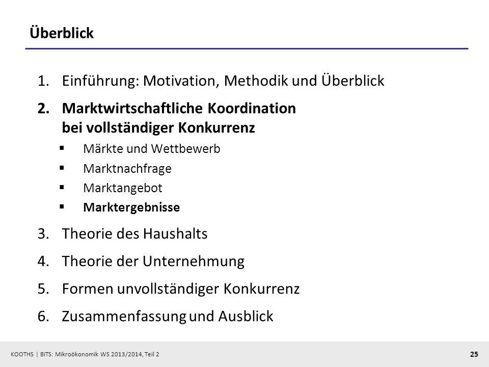 KOOTHS | BiTS: Mikroökonomik WS 2013/2014, Teil 2 25 Überblick 1.Einführung: Motivation, Methodik und Überblick 2.Marktwirtschaftliche Koordination be