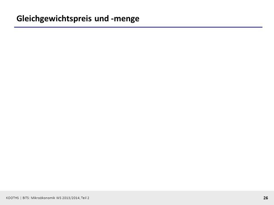 KOOTHS | BiTS: Mikroökonomik WS 2013/2014, Teil 2 26 Gleichgewichtspreis und -menge