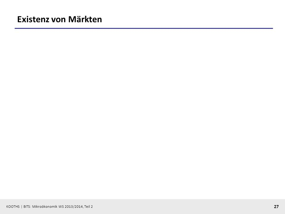 KOOTHS | BiTS: Mikroökonomik WS 2013/2014, Teil 2 27 Existenz von Märkten