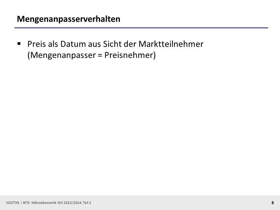KOOTHS   BiTS: Mikroökonomik WS 2013/2014, Teil 2 29 Dominanz der kürzeren Marktseite: Angebots- und Nachfrageüberschüsse