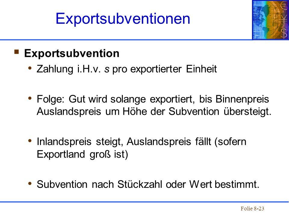Folie 8-23 Exportsubvention Zahlung i.H.v. s pro exportierter Einheit Folge: Gut wird solange exportiert, bis Binnenpreis Auslandspreis um Höhe der Su