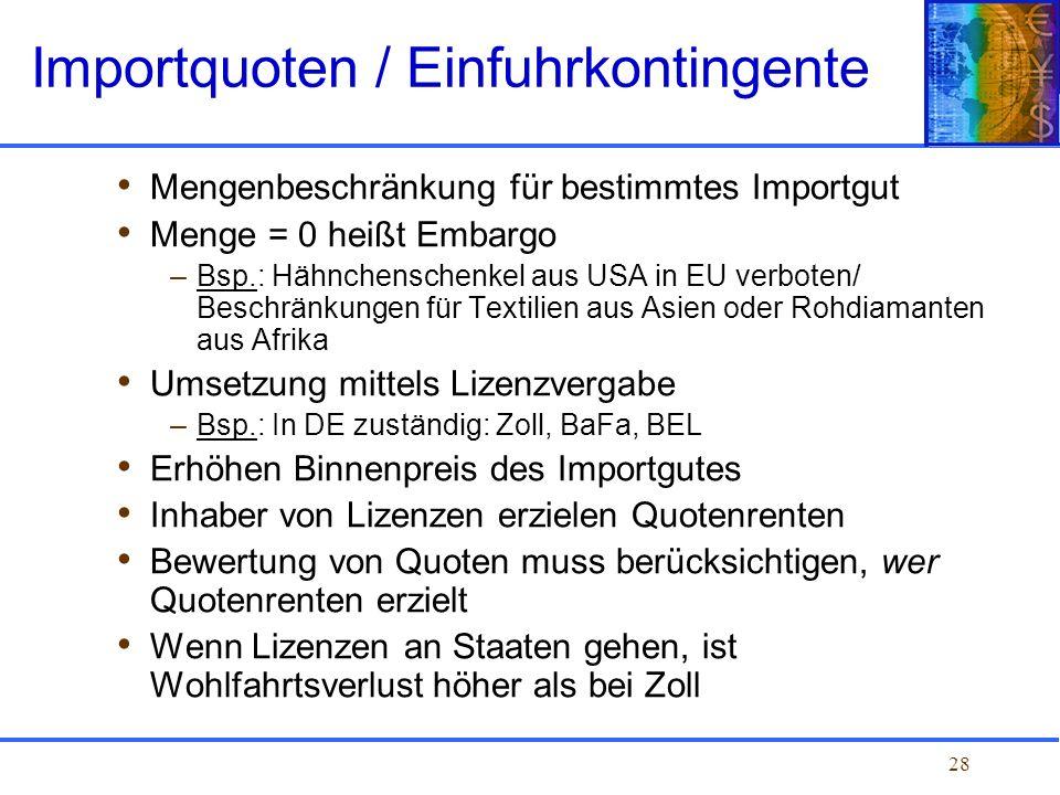 28 Mengenbeschränkung für bestimmtes Importgut Menge = 0 heißt Embargo –Bsp.: Hähnchenschenkel aus USA in EU verboten/ Beschränkungen für Textilien au