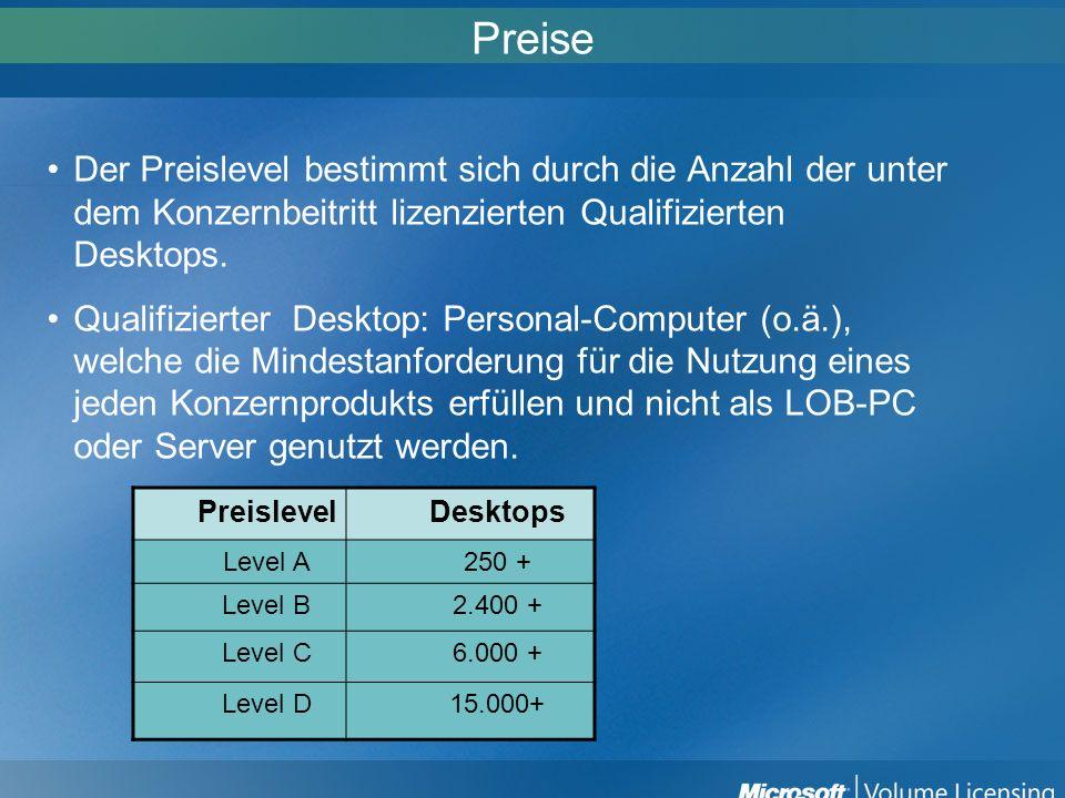 Preise Der Preislevel bestimmt sich durch die Anzahl der unter dem Konzernbeitritt lizenzierten Qualifizierten Desktops. Qualifizierter Desktop: Perso