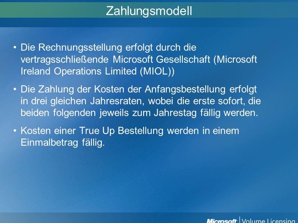Zahlungsmodell Die Rechnungsstellung erfolgt durch die vertragsschließende Microsoft Gesellschaft (Microsoft Ireland Operations Limited (MIOL)) Die Za