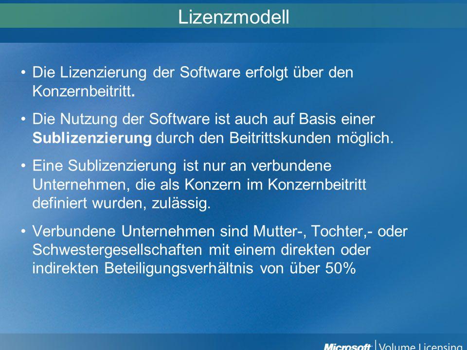 Lizenzmodell Die Lizenzierung der Software erfolgt über den Konzernbeitritt. Die Nutzung der Software ist auch auf Basis einer Sublizenzierung durch d