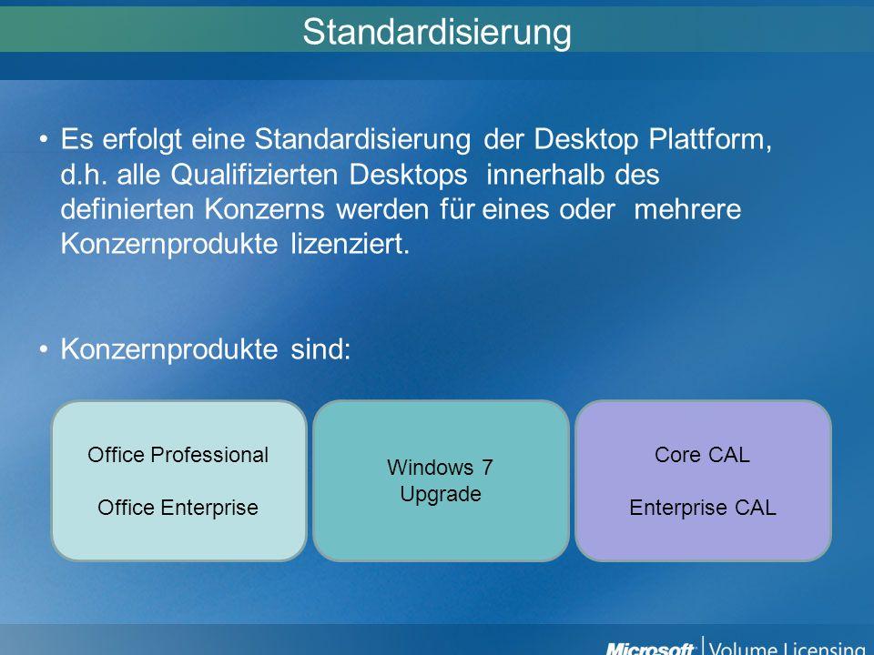 Standardisierung Es erfolgt eine Standardisierung der Desktop Plattform, d.h. alle Qualifizierten Desktops innerhalb des definierten Konzerns werden f
