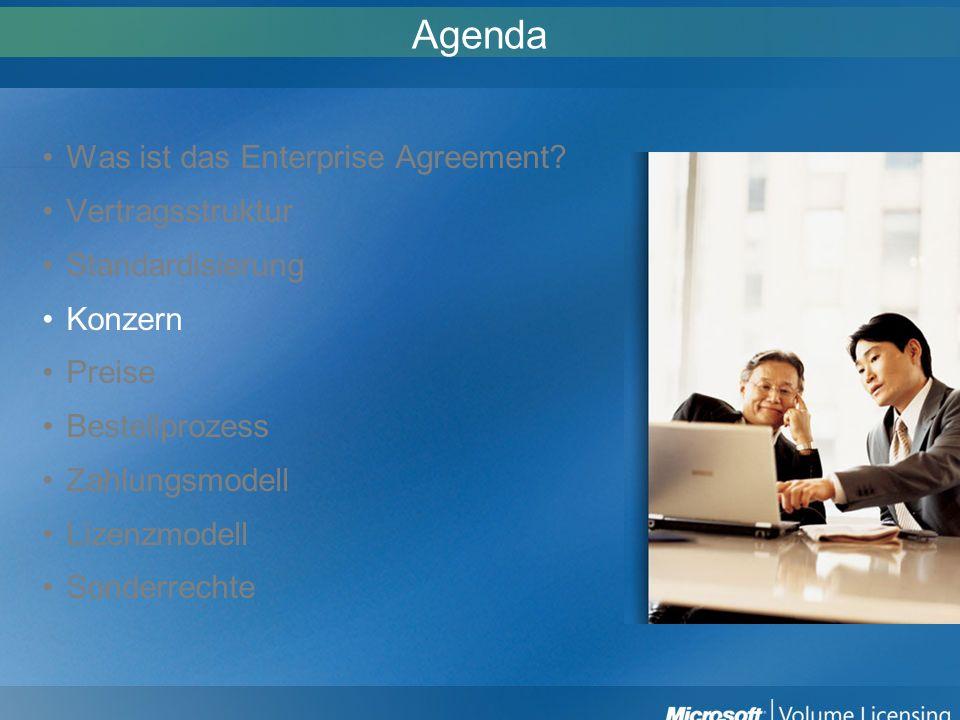 Agenda Was ist das Enterprise Agreement? Vertragsstruktur Standardisierung Konzern Preise Bestellprozess Zahlungsmodell Lizenzmodell Sonderrechte
