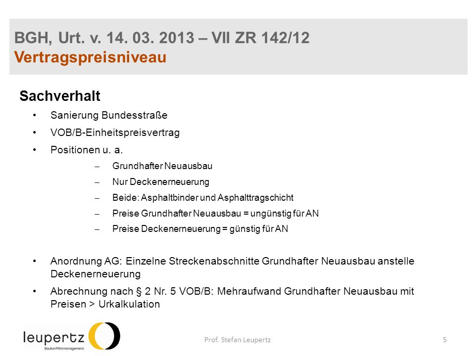 BGH, Urt. v. 14. 03. 2013 – VII ZR 142/12 Vertragspreisniveau Sachverhalt Sanierung Bundesstraße VOB/B-Einheitspreisvertrag Positionen u. a. Grundhaft