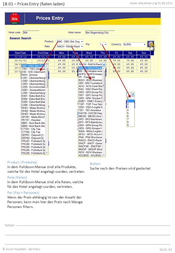 letzte Aktualisierung 01.06.2012 © Accor Hospitaliy Germany Notizen 18.01 – Prices Entry (Raten laden) 18.01.-03 1 – Product Hier ist jeder Produkt hinterlegt, welches für das Hotel angelegt worden ist.