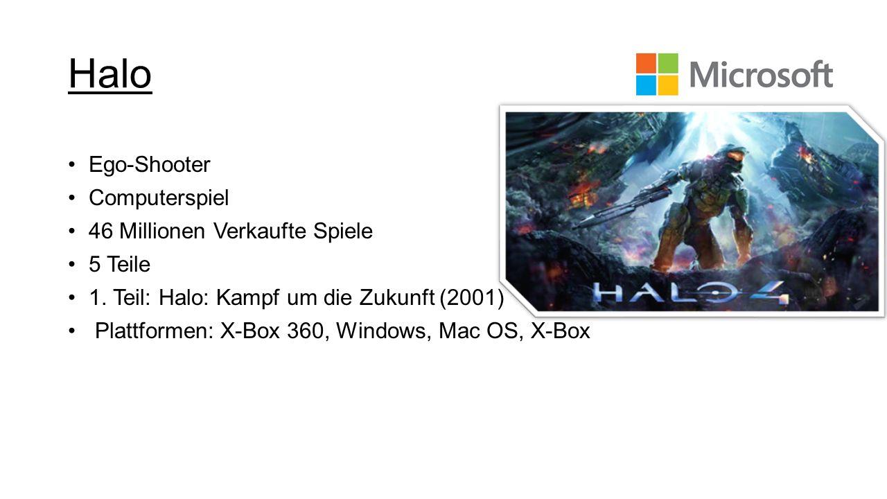 Ego-Shooter Computerspiel 46 Millionen Verkaufte Spiele 5 Teile 1. Teil: Halo: Kampf um die Zukunft (2001) Plattformen: X-Box 360, Windows, Mac OS, X-