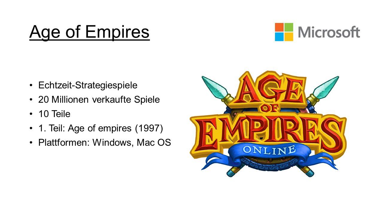 Age of Empires Echtzeit-Strategiespiele 20 Millionen verkaufte Spiele 10 Teile 1. Teil: Age of empires (1997) Plattformen: Windows, Mac OS