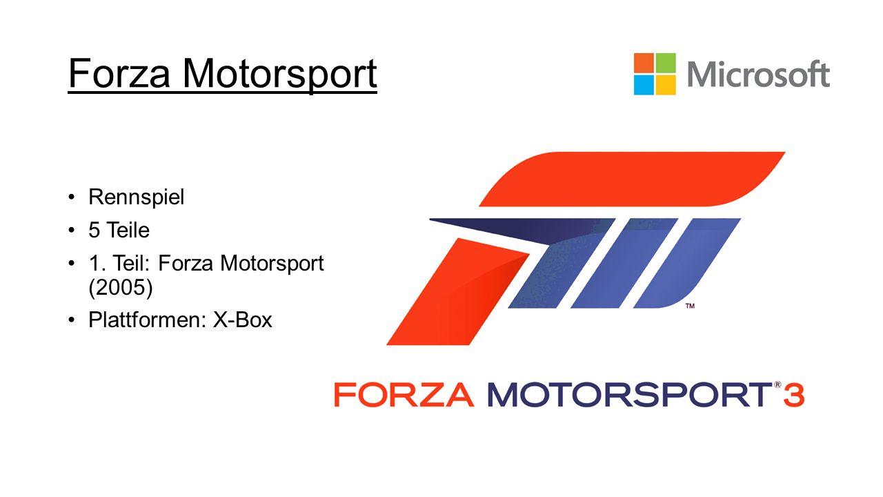 Forza Motorsport Rennspiel 5 Teile 1. Teil: Forza Motorsport (2005) Plattformen: X-Box