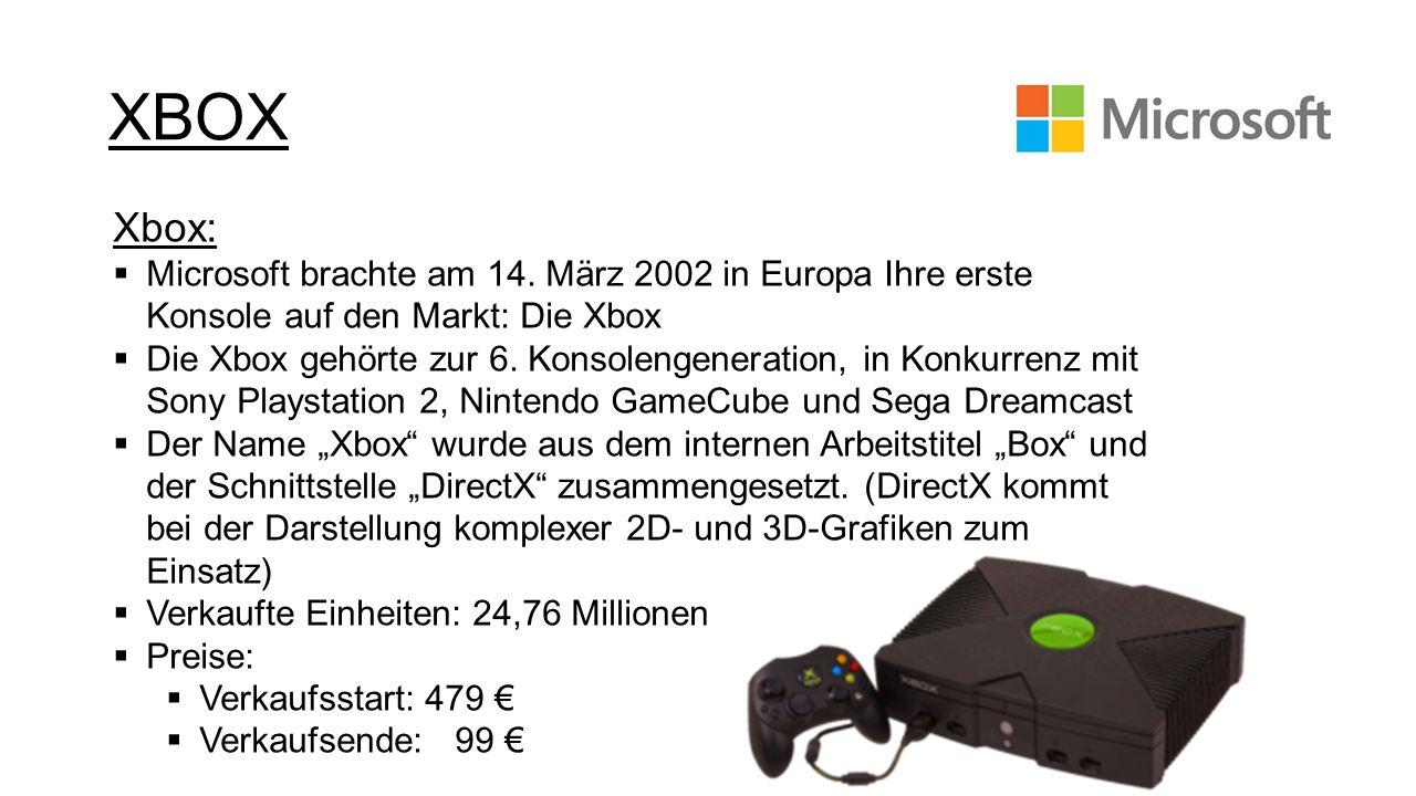 Xbox: Microsoft brachte am 14. März 2002 in Europa Ihre erste Konsole auf den Markt: Die Xbox Die Xbox gehörte zur 6. Konsolengeneration, in Konkurren