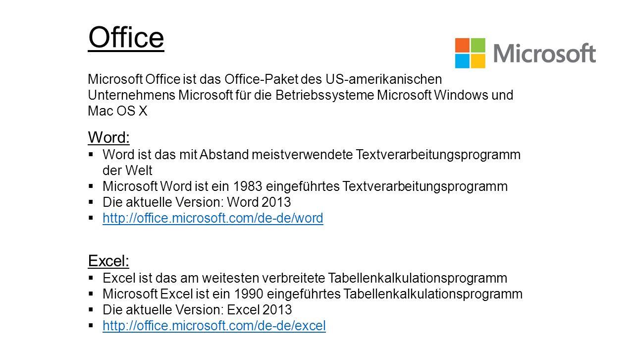 Office Microsoft Office ist das Office-Paket des US-amerikanischen Unternehmens Microsoft für die Betriebssysteme Microsoft Windows und Mac OS X Word: