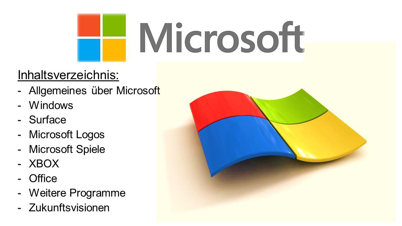 Inhaltsverzeichnis: -Allgemeines über Microsoft -Windows -Surface -Microsoft Logos -Microsoft Spiele -XBOX -Office -Weitere Programme -Zukunftsvisione