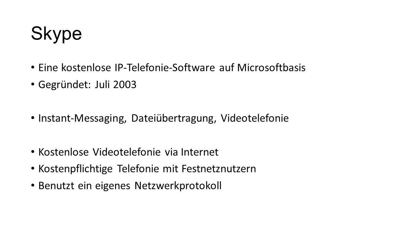 Skype Eine kostenlose IP-Telefonie-Software auf Microsoftbasis Gegründet: Juli 2003 Instant-Messaging, Dateiübertragung, Videotelefonie Kostenlose Vid
