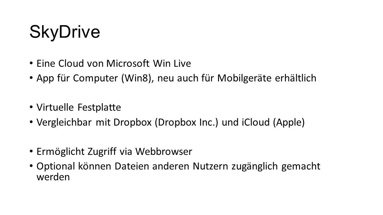 SkyDrive Eine Cloud von Microsoft Win Live App für Computer (Win8), neu auch für Mobilgeräte erhältlich Virtuelle Festplatte Vergleichbar mit Dropbox