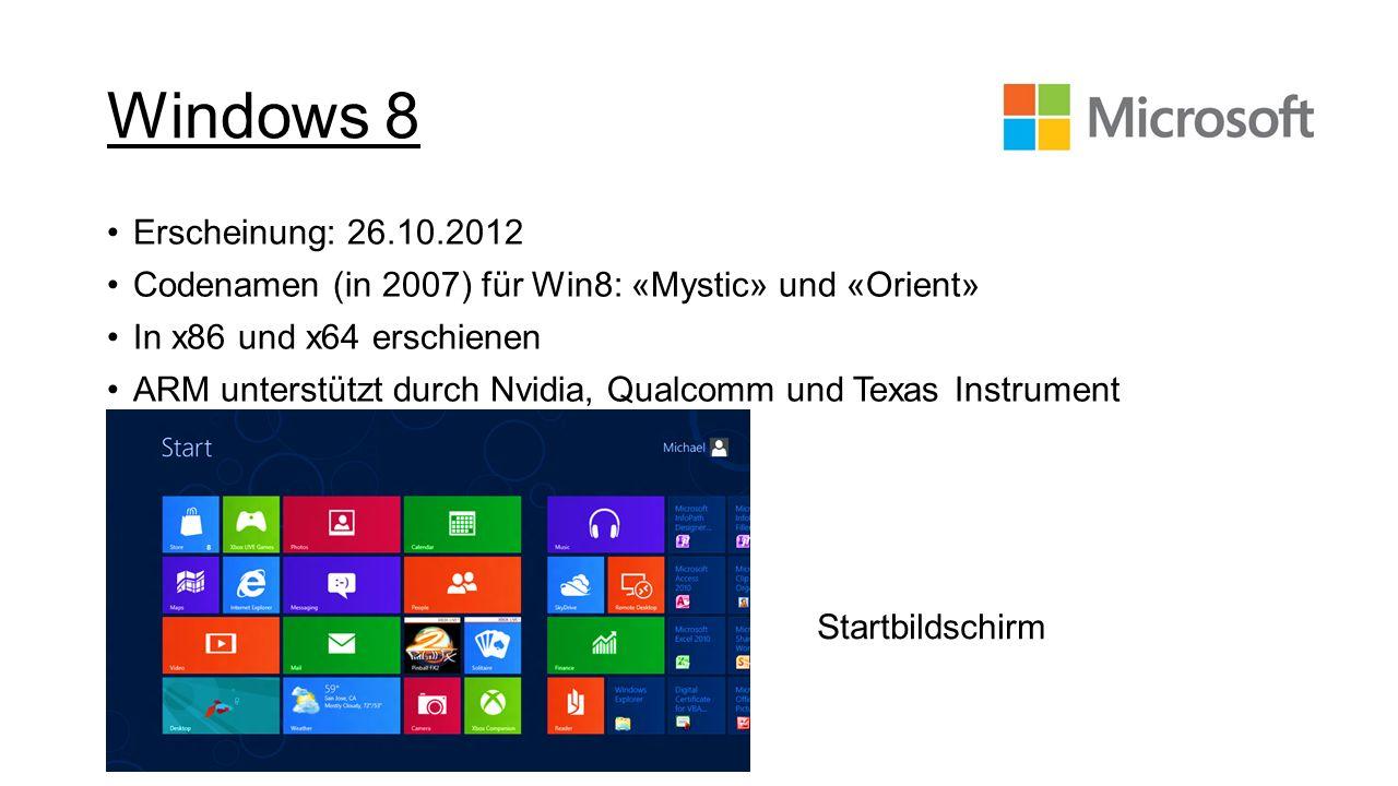 Windows 8 Erscheinung: 26.10.2012 Codenamen (in 2007) für Win8: «Mystic» und «Orient» In x86 und x64 erschienen ARM unterstützt durch Nvidia, Qualcomm