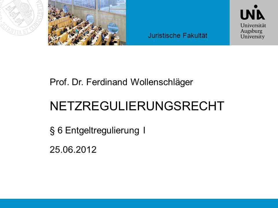 Juristische Fakultät Prof. Dr. Ferdinand Wollenschläger NETZREGULIERUNGSRECHT § 6 Entgeltregulierung I 25.06.2012