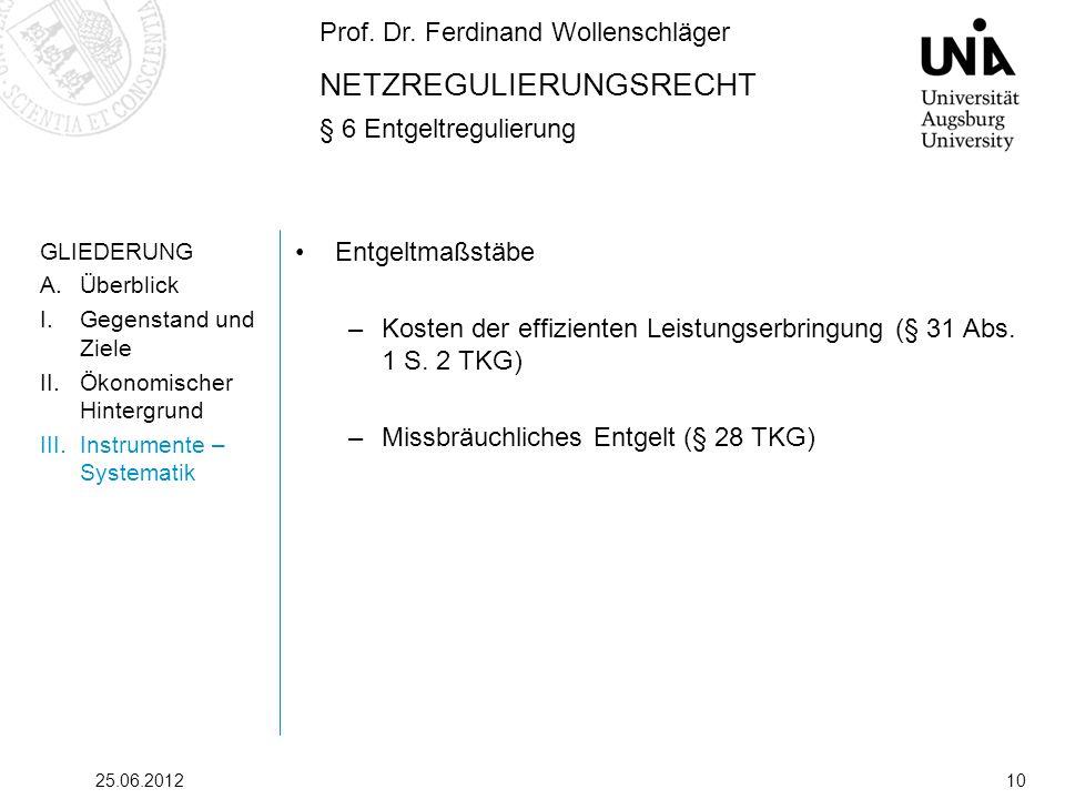 Prof. Dr. Ferdinand Wollenschläger NETZREGULIERUNGSRECHT § 6 Entgeltregulierung 25.06.201210 GLIEDERUNG A.Überblick I.Gegenstand und Ziele II.Ökonomis
