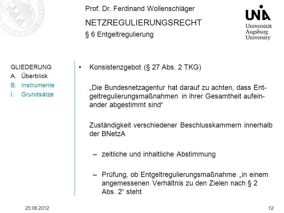 Prof. Dr. Ferdinand Wollenschläger NETZREGULIERUNGSRECHT § 6 Entgeltregulierung 25.06.201212 GLIEDERUNG A.Überblick B.Instrumente I.Grundsätze Konsist