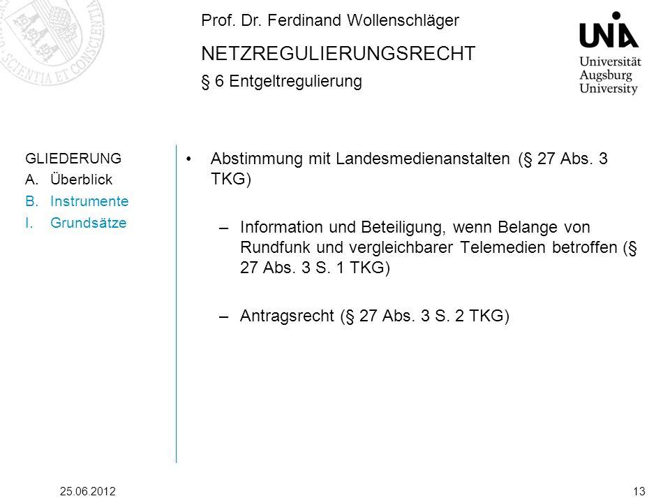 Prof. Dr. Ferdinand Wollenschläger NETZREGULIERUNGSRECHT § 6 Entgeltregulierung 25.06.201213 GLIEDERUNG A.Überblick B.Instrumente I.Grundsätze Abstimm