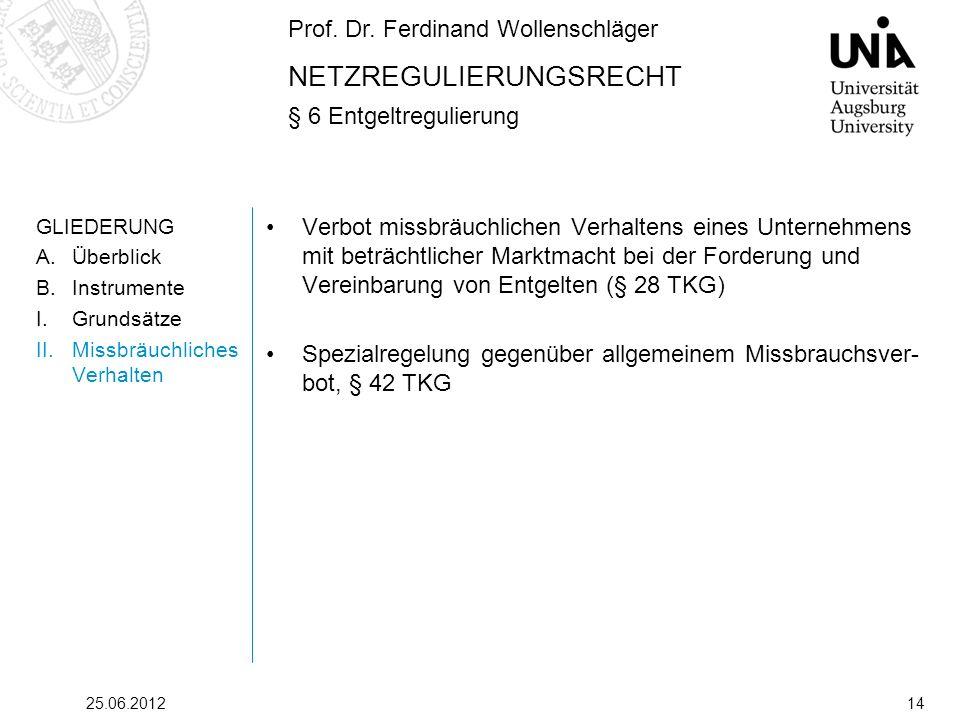 Prof. Dr. Ferdinand Wollenschläger NETZREGULIERUNGSRECHT § 6 Entgeltregulierung 25.06.201214 GLIEDERUNG A.Überblick B.Instrumente I.Grundsätze II.Miss