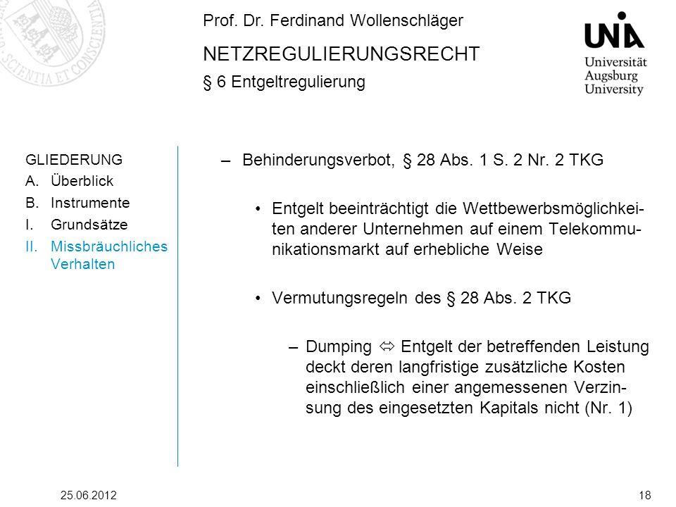 Prof. Dr. Ferdinand Wollenschläger NETZREGULIERUNGSRECHT § 6 Entgeltregulierung 25.06.201218 GLIEDERUNG A.Überblick B.Instrumente I.Grundsätze II.Miss