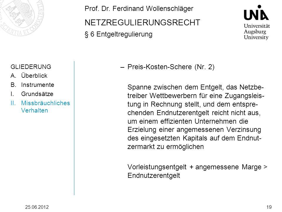 Prof. Dr. Ferdinand Wollenschläger NETZREGULIERUNGSRECHT § 6 Entgeltregulierung 25.06.201219 GLIEDERUNG A.Überblick B.Instrumente I.Grundsätze II.Miss