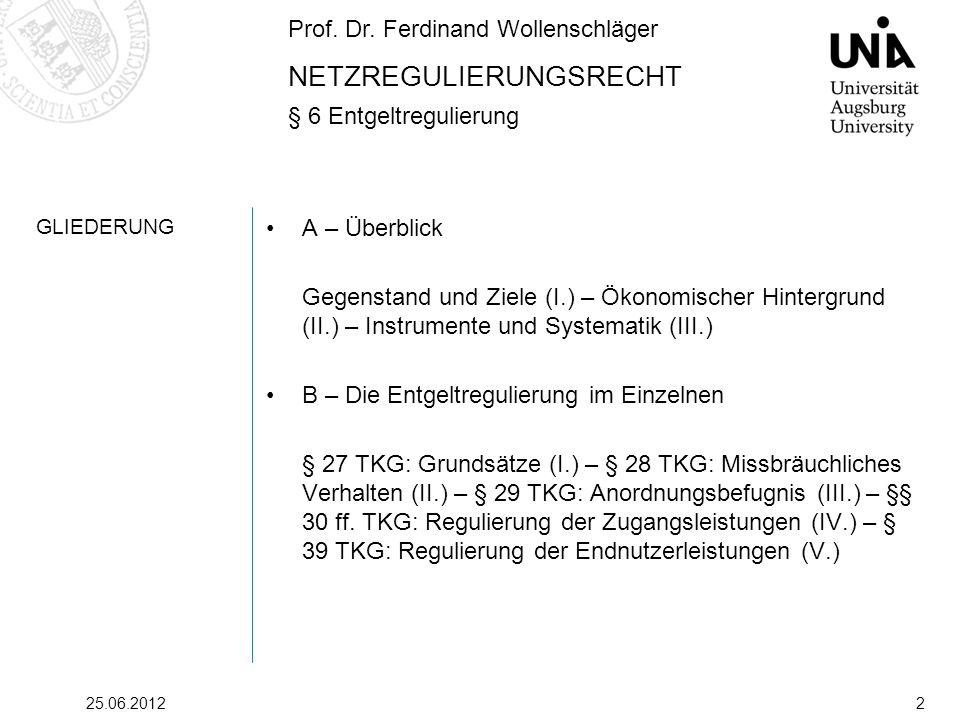 Prof. Dr. Ferdinand Wollenschläger NETZREGULIERUNGSRECHT § 6 Entgeltregulierung 25.06.20122 GLIEDERUNG A – Überblick Gegenstand und Ziele (I.) – Ökono