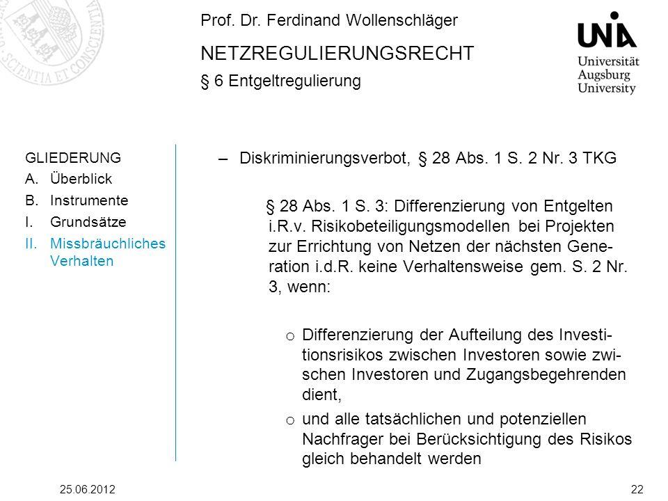 Prof. Dr. Ferdinand Wollenschläger NETZREGULIERUNGSRECHT § 6 Entgeltregulierung 25.06.201222 GLIEDERUNG A.Überblick B.Instrumente I.Grundsätze II.Miss