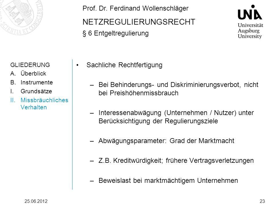 Prof. Dr. Ferdinand Wollenschläger NETZREGULIERUNGSRECHT § 6 Entgeltregulierung 25.06.201223 GLIEDERUNG A.Überblick B.Instrumente I.Grundsätze II.Miss