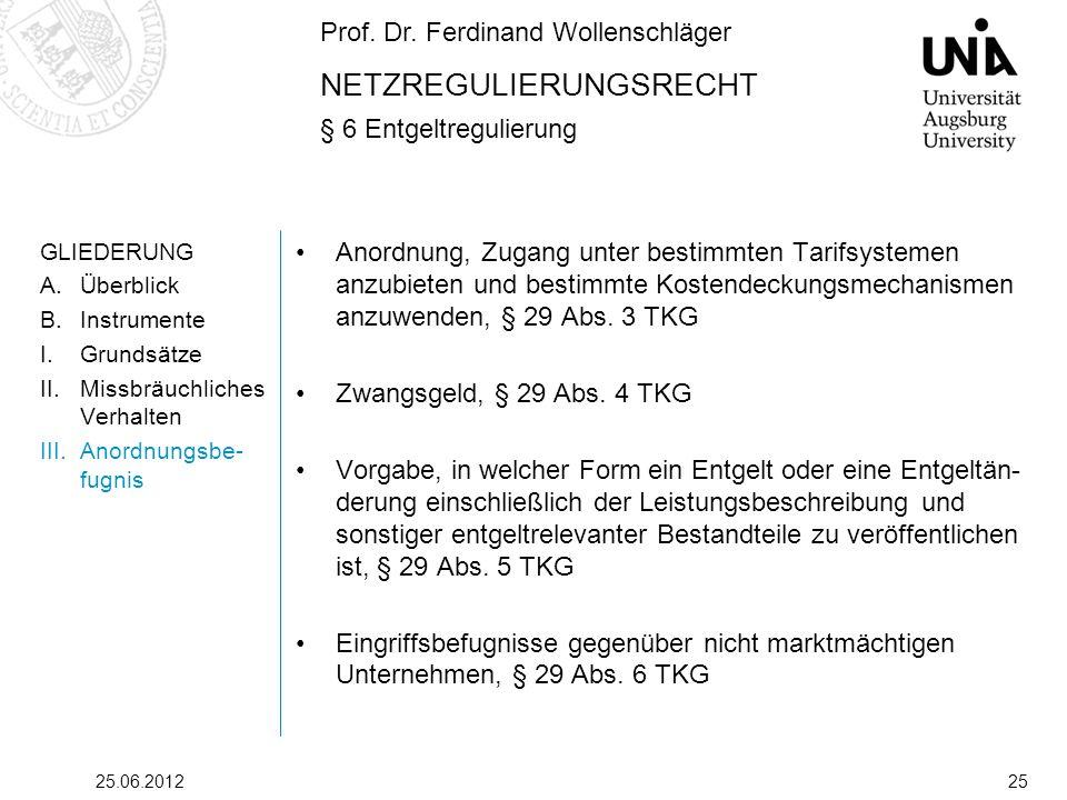 Prof. Dr. Ferdinand Wollenschläger NETZREGULIERUNGSRECHT § 6 Entgeltregulierung 25.06.201225 GLIEDERUNG A.Überblick B.Instrumente I.Grundsätze II.Miss