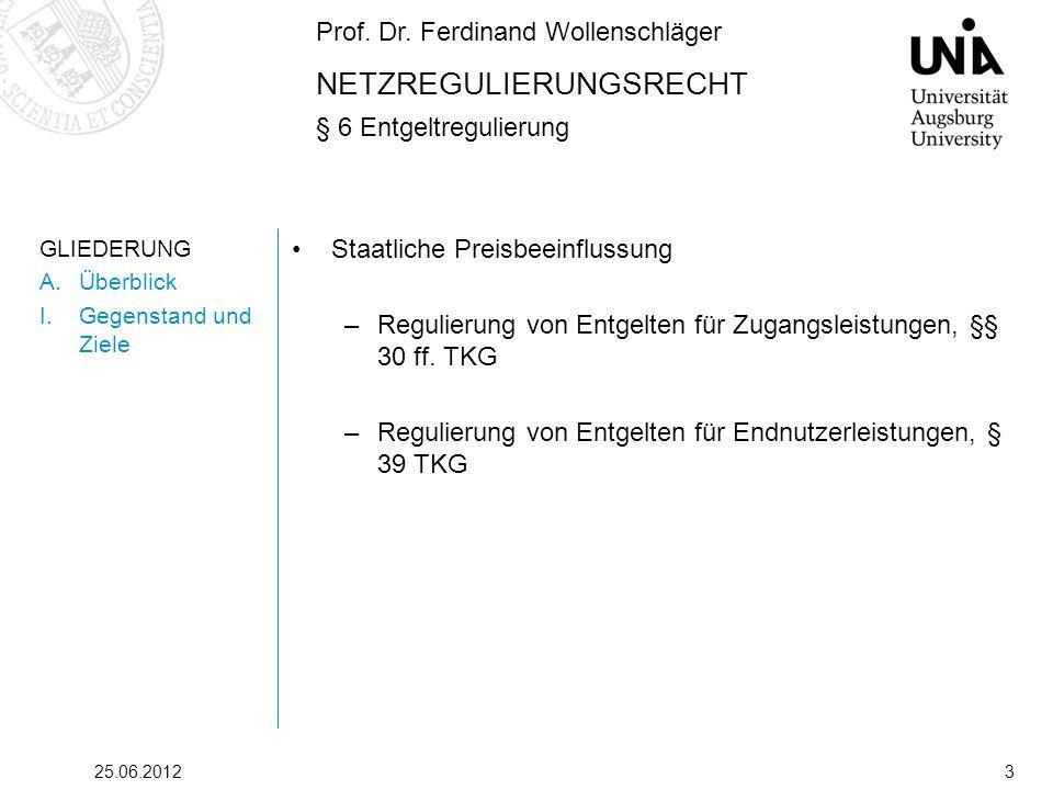 Prof. Dr. Ferdinand Wollenschläger NETZREGULIERUNGSRECHT § 6 Entgeltregulierung 25.06.20123 GLIEDERUNG A.Überblick I.Gegenstand und Ziele Staatliche P