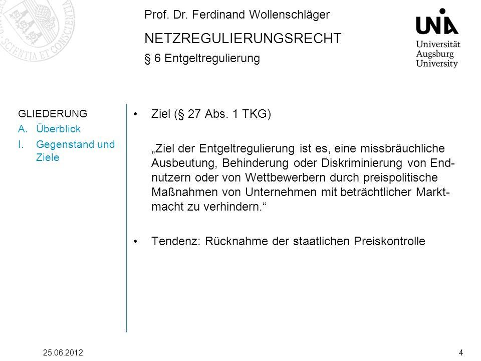 Prof. Dr. Ferdinand Wollenschläger NETZREGULIERUNGSRECHT § 6 Entgeltregulierung 25.06.20124 GLIEDERUNG A.Überblick I.Gegenstand und Ziele Ziel (§ 27 A
