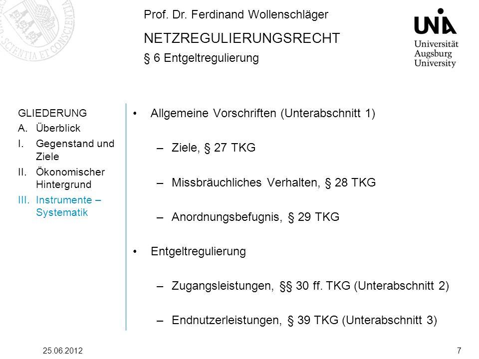 Prof. Dr. Ferdinand Wollenschläger NETZREGULIERUNGSRECHT § 6 Entgeltregulierung 25.06.20127 GLIEDERUNG A.Überblick I.Gegenstand und Ziele II.Ökonomisc