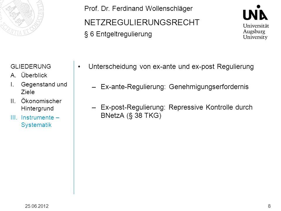 Prof. Dr. Ferdinand Wollenschläger NETZREGULIERUNGSRECHT § 6 Entgeltregulierung 25.06.20128 GLIEDERUNG A.Überblick I.Gegenstand und Ziele II.Ökonomisc