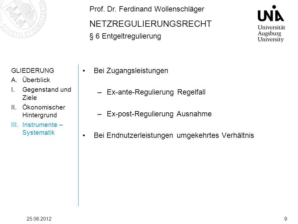 Prof. Dr. Ferdinand Wollenschläger NETZREGULIERUNGSRECHT § 6 Entgeltregulierung 25.06.20129 GLIEDERUNG A.Überblick I.Gegenstand und Ziele II.Ökonomisc