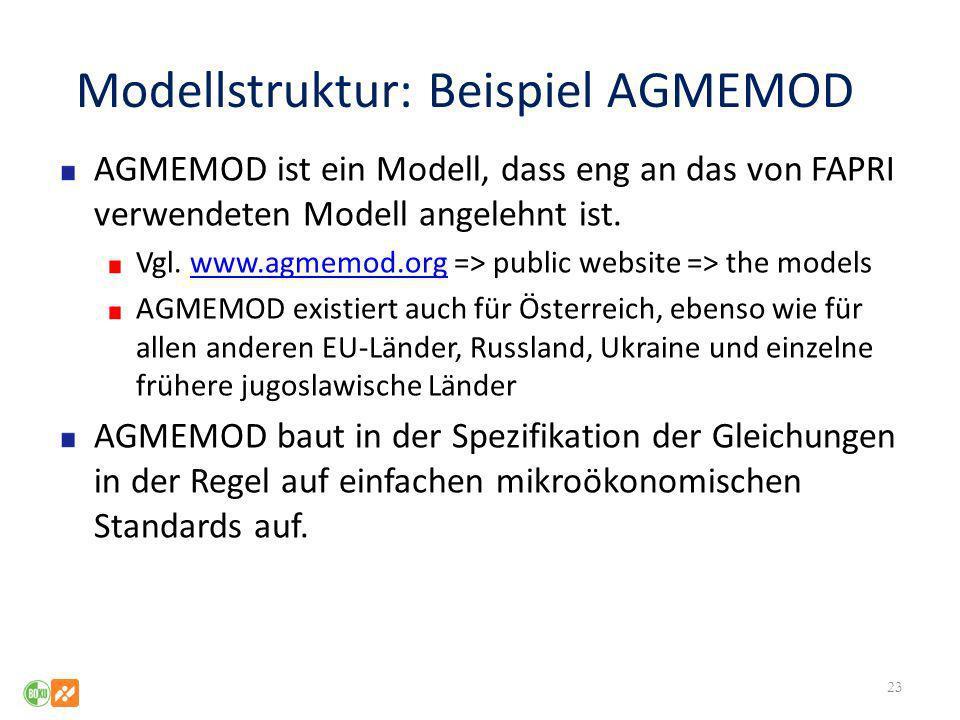 Modellstruktur: Beispiel AGMEMOD AGMEMOD ist ein Modell, dass eng an das von FAPRI verwendeten Modell angelehnt ist. Vgl. www.agmemod.org => public we